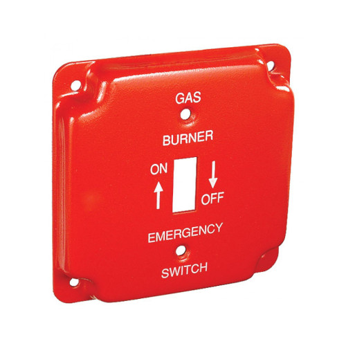"""4"""" Square Finished Cover Raised 1/2"""" w/ 1 Toggle Switch, Red Emergency Gas Cover"""