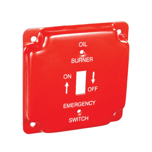 """4"""" Square Finished Cover Raised 1/2"""" w/ 1 Toggle Switch, Red Emergency Oil Cover"""