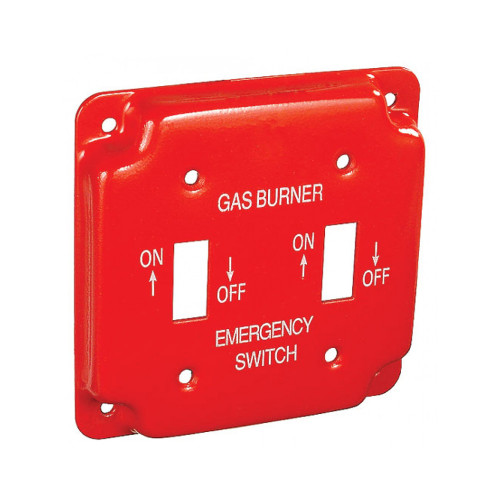 """4"""" Square Finished Cover Raised 1/2"""" w/ 2 Toggle Switches, Red Emergency Gas Cover"""