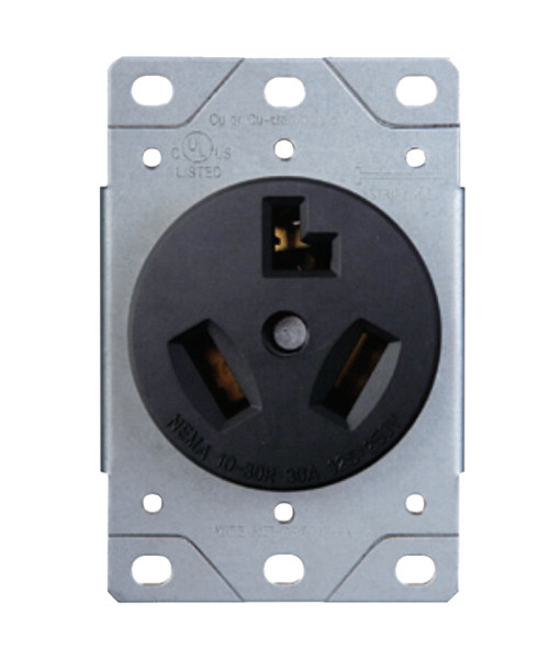 Dryer Receptacle 30A-125/250V; 3-Pole, 3-Wire; 10-30R