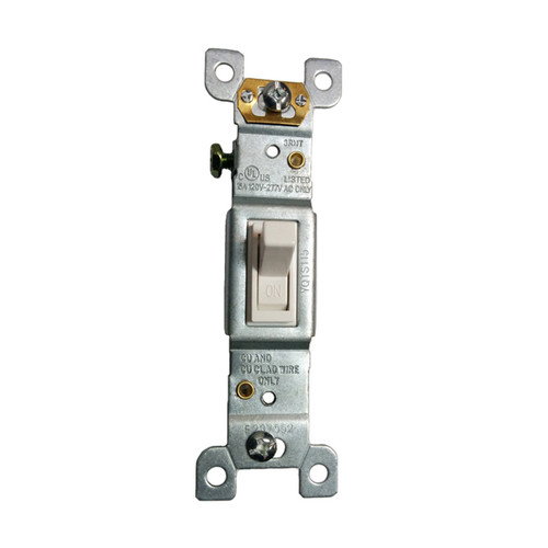 Toggle Switch, 3-Way, 15A, 125V/277V AC, Self-Grounding