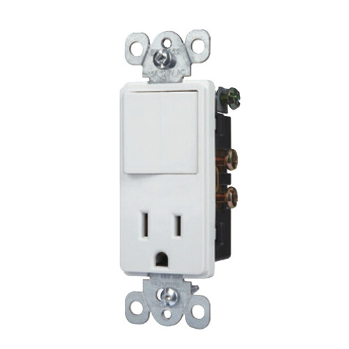 Decorator Switch & 15A Outlet Combination Wiring Device