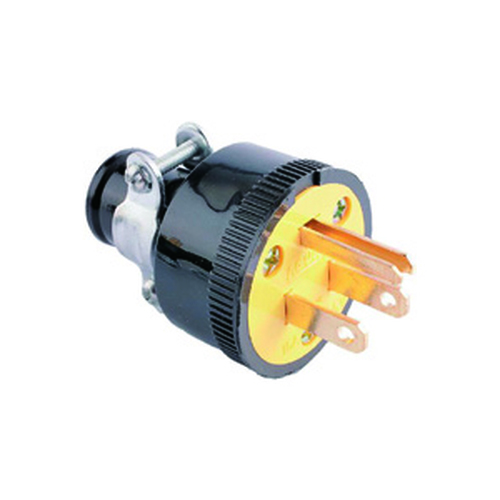 Thermoplastic Rubber Plug, 2-Pole 3-Wire Grounding, 15A-125V, NEMA 5-15P