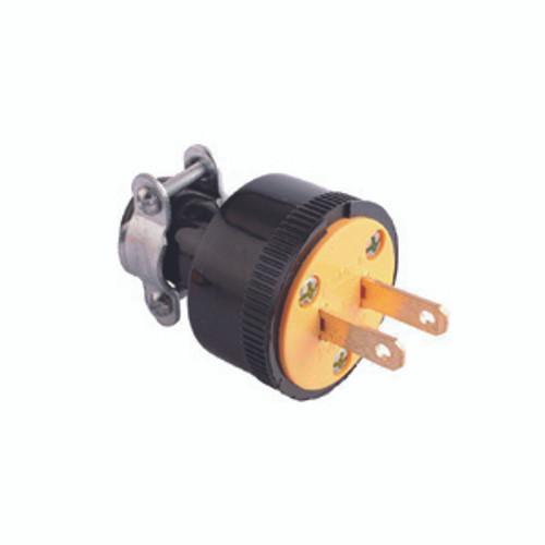 Thermoplastic Rubber Plug, 2-Pole 2-Wire Non-Grounding, 15A-125V, NEMA 1-15P