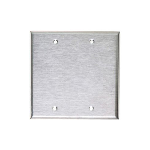 2-Gang Blank Wall Plate, Stainless Steel