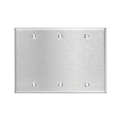 3-Gang Blank Wall Plate, Stainless Steel