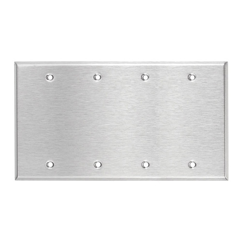 4-Gang Blank Wall Plate, Stainless Steel