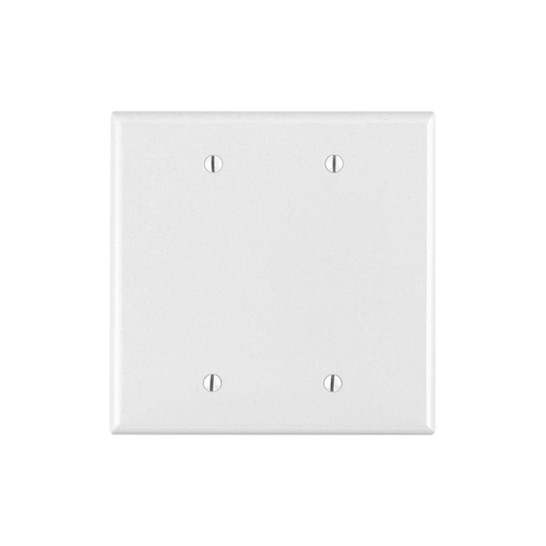 2-Gang Blank Wall Plate, Metal - White