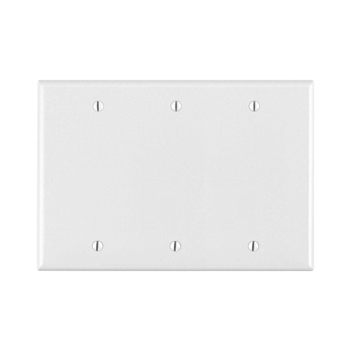 3-Gang Blank Wall Plate, Metal - White