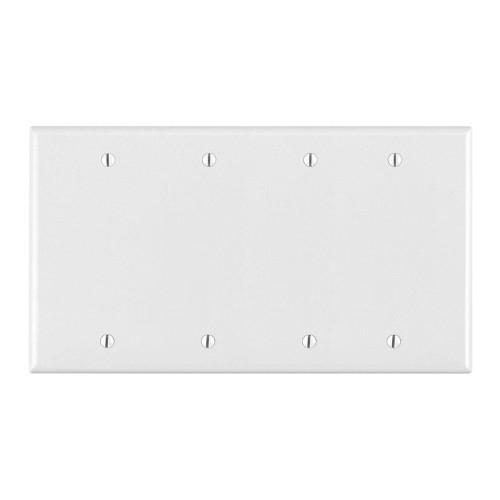 4-Gang Blank Wall Plate, Metal - White