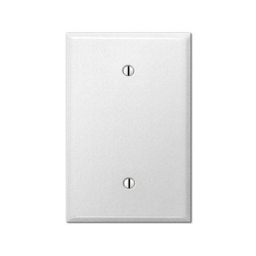 1-Gang Blank Wall Plate, Oversize Large, Metal - White