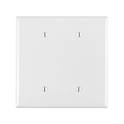2-Gang Blank Wall Plate, Oversize Large, Metal - White