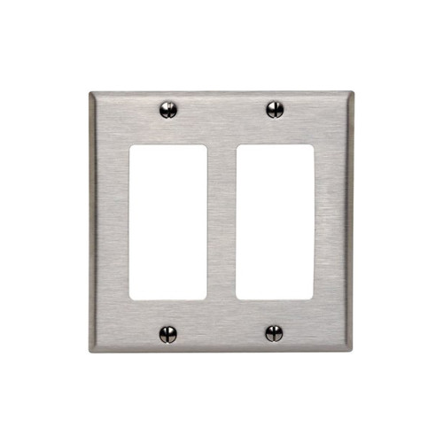 2-Gang Decorator Wall Plate, Stainless Steel