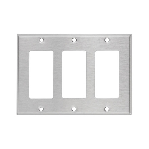 3-Gang Decorator Wall Plate, Stainless Steel