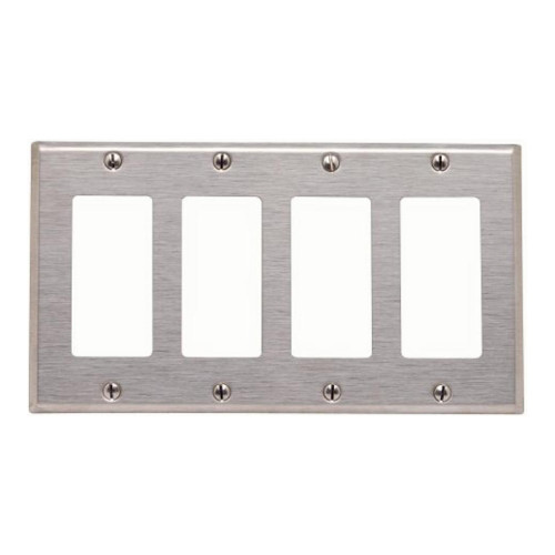 4-Gang Decorator Wall Plate, Stainless Steel