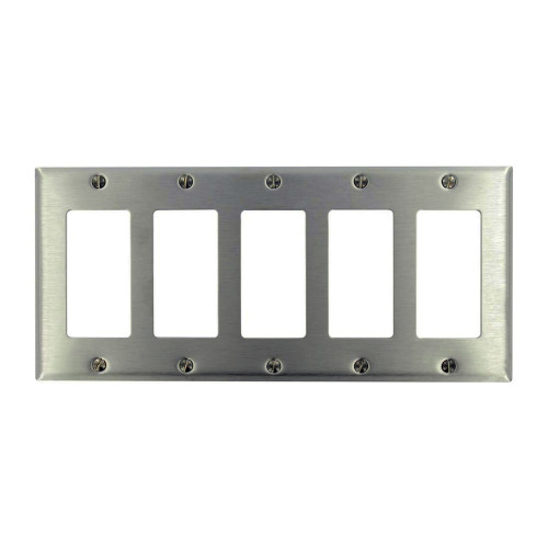 5-Gang Decorator Wall Plate, Stainless Steel