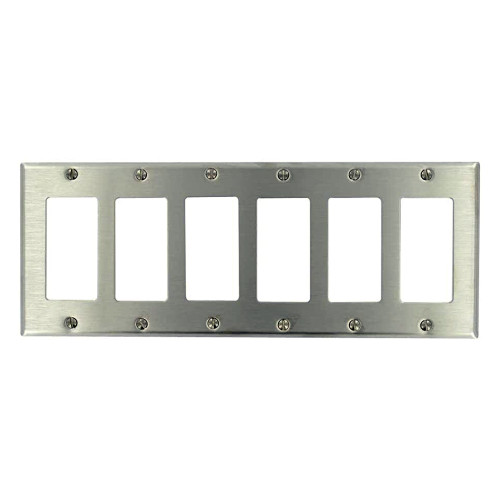 6-Gang Decorator Wall Plate, Stainless Steel