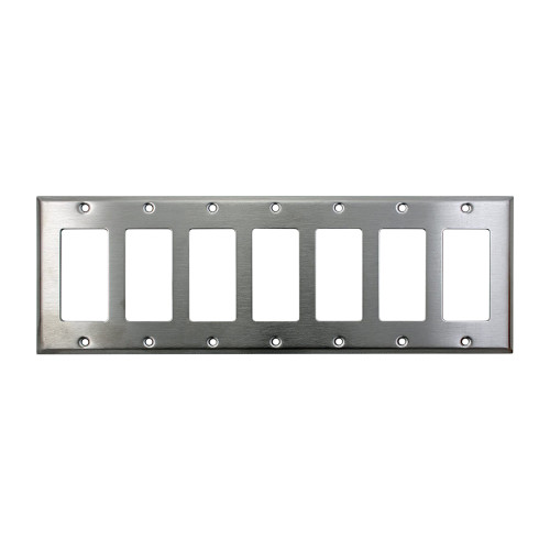 7-Gang Decorator Wall Plate, Stainless Steel