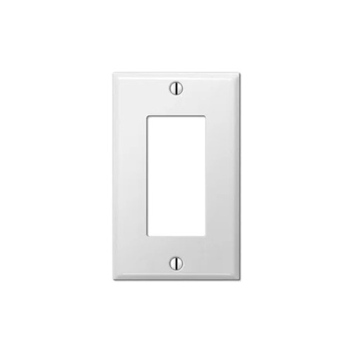 1-Gang Decorator Wall Plate, Metal - White