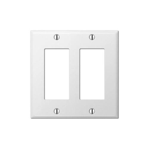 2-Gang Decorator Wall Plate, Metal - White