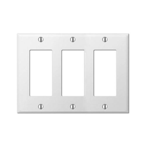 3-Gang Decorator Wall Plate, Metal - White