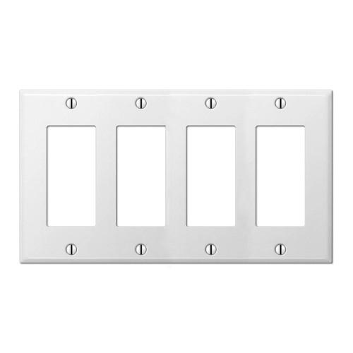 4-Gang Decorator Wall Plate, Metal - White