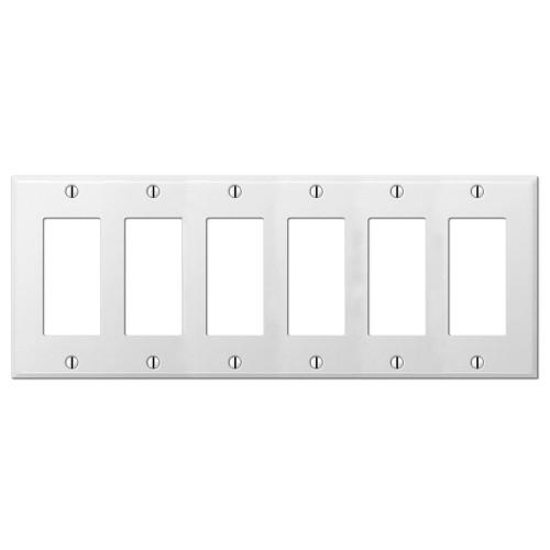 6-Gang Decorator Wall Plate, Metal - White