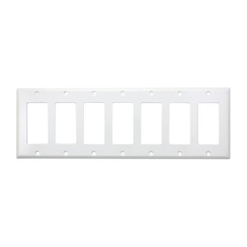 7-Gang Decorator Wall Plate, Metal - White