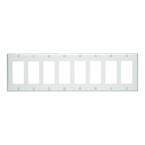 8-Gang Decorator Wall Plate, Metal - White