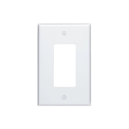 1-Gang Decorator Wall Plate, Mid-Size, Metal - White