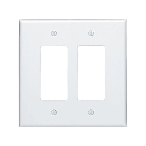 2-Gang Decorator Wall Plate, Oversize Large, Metal - White