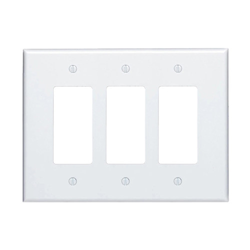 3-Gang Decorator Wall Plate, Oversize Large, Metal - White