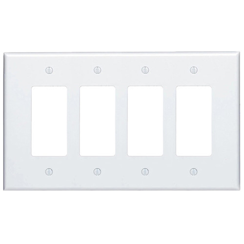 4-Gang Decorator Wall Plate, Oversize Large, Metal - White