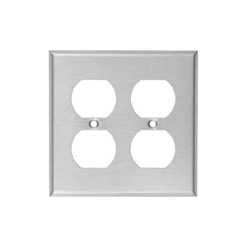 2-Gang Duplex Wall Plate, Stainless Steel