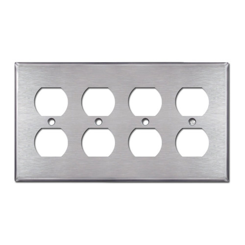 4-Gang Duplex Wall Plate, Stainless Steel