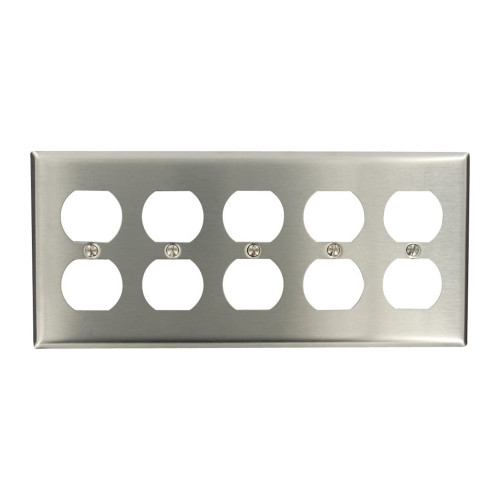 5-Gang Duplex Wall Plate, Stainless Steel