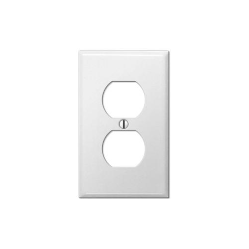 1-Gang Duplex Wall Plate, Metal - White