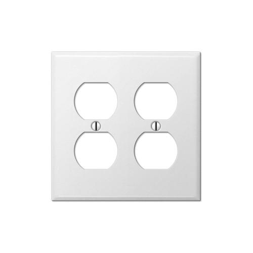 2-Gang Duplex Wall Plate, Metal - White