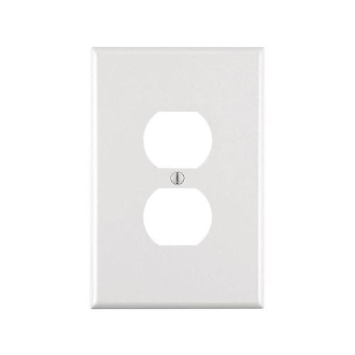 1-Gang Duplex Wall Plate, Oversize Large, Metal - White
