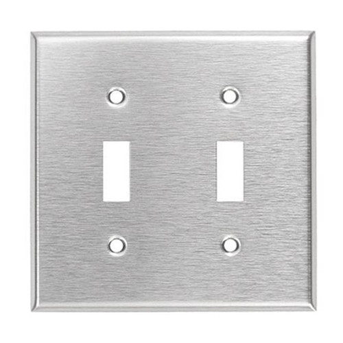 2-Gang Toggle Wall Plate, Stainless Steel