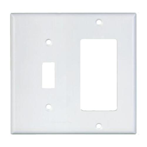 2-Gang Combo Wall Plate - 1 Decora, 1 Toggle