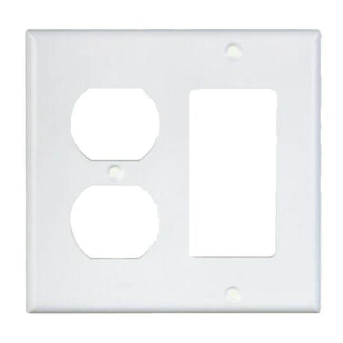 2-Gang Combo Wall Plate - 1 Decora, 1 Duplex