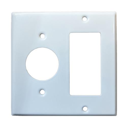2-Gang Combo Wall Plate - 1 Single, 1 Decora, Metal - White
