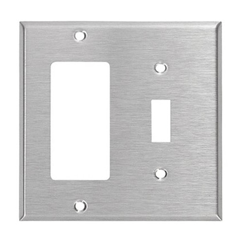 2-Gang Combo Wall Plate - 1 Decora, 1 Toggle, Stainless Steel