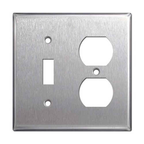 2-Gang Combo Wall Plate - 1 Toggle, 1 Duplex, Stainless Steel