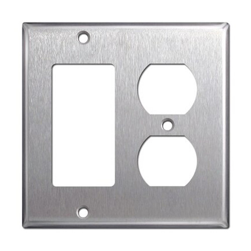 2-Gang Combo Wall Plate - 1 Decora, 1 Duplex, Stainless Steel