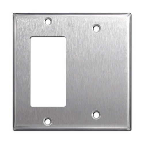 2-Gang Combo Wall Plate - 1 Decora, 1 Blank, Stainless Steel