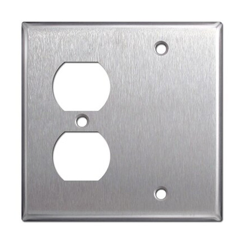2-Gang Combo Wall Plate - 1 Duplex, 1 Blank, Stainless Steel