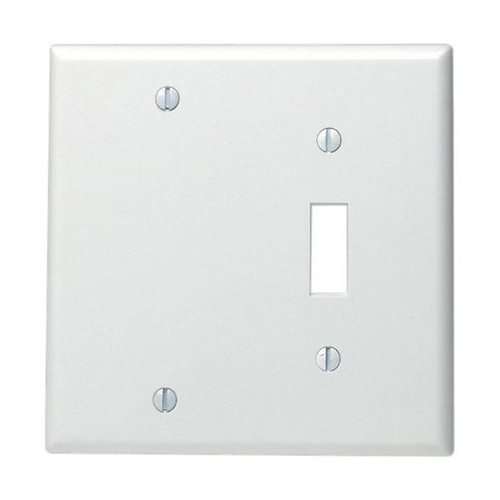 2-Gang Combo Wall Plate - 1 Toggle, 1 Blank, Metal - White
