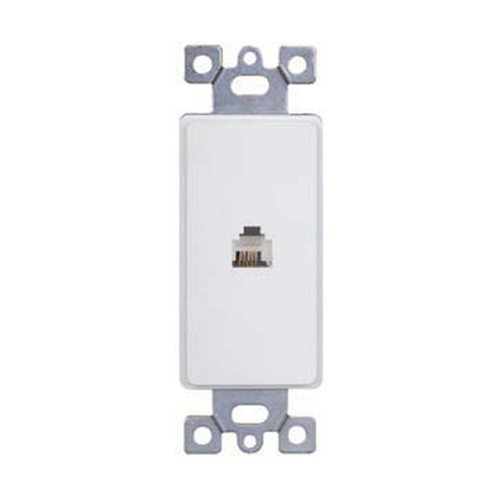 Decorator Style Insert, Single RJ11 Phone Jack, 4-Position, 4-Conductor Device, White